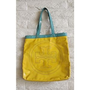 Tory Burch | yellow blue patent leather tote bag